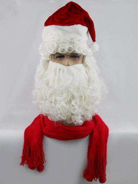 Christmas Long Side Bang Curly Santa Claus Cosplay Wig With Beard - WHITE