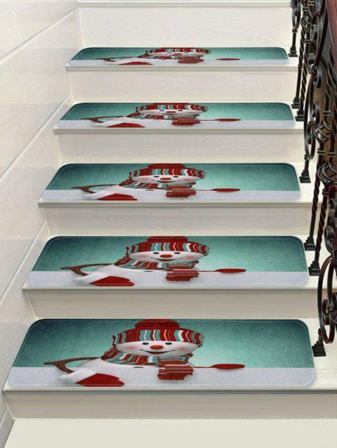 Smile Christmas Snowman Printed Decorative Stair Floor Rugs - multicolor 5PCS X 28 X 9 INCH