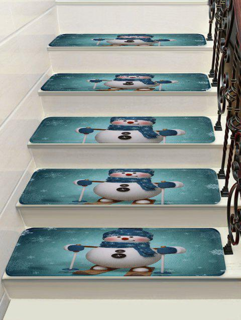 Christmas Snowman Snowflake Printed Decorative Stair Floor Rugs - multicolor 5PCS X 28 X 9 INCH