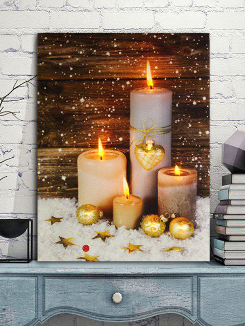 Christmas Candles Print Unframed Canvas Paintings - multicolor 1PC:20*29.5 INCH( NO FRAME )