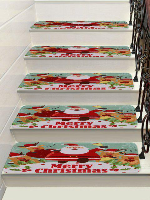 Christmas Deer Santa Claus Printed Decorative Stair Floor Rugs - multicolor 5PCS X 28 X 9 INCH