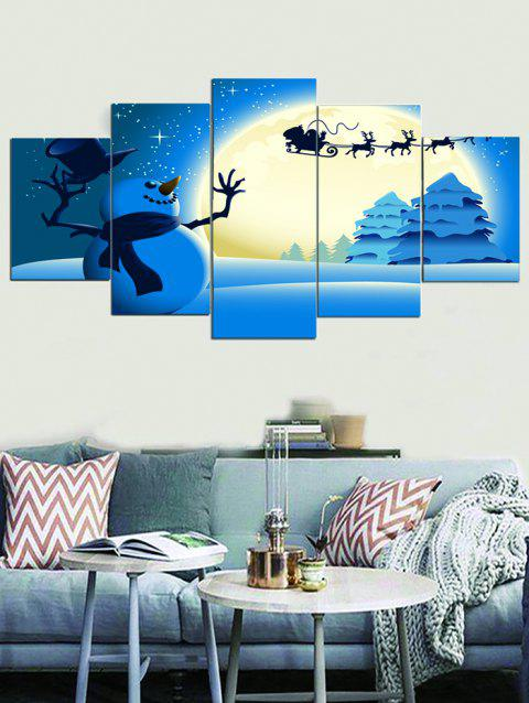 Christmas Moon Snowman Print Unframed Canvas Paintings - DEEP SKY BLUE 1PC X 8 X 20,2PCS X 8 X 12,2PCS X 8 X 16 INCH( NO