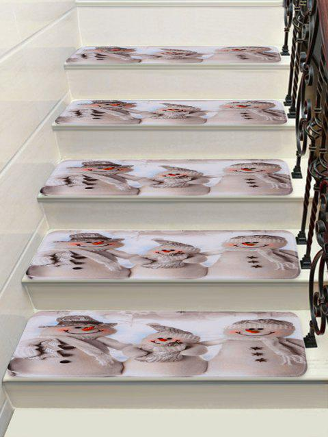 Christmas Snowman Family Print Decorative Stair Floor Rugs - multicolor 5PCS X 28 X 9 INCH