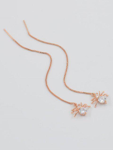 Stylish Rhinestone Spider Chain Earrings - ROSE GOLD