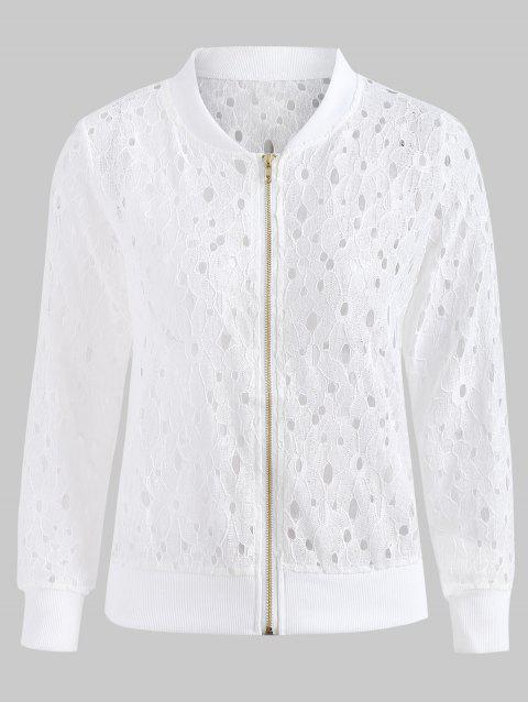 Hollow Out Lace Jacket - MILK WHITE XL