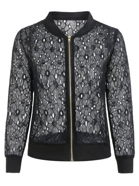 Hollow Out Lace Jacket - JET BLACK 2XL