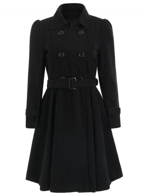 Double Breasted Fit and Flare Wool Coat - BLACK S
