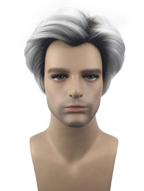 Short Inclined Bang Straight Film Colormix Character Cosplay Synthetic Wig - multicolor