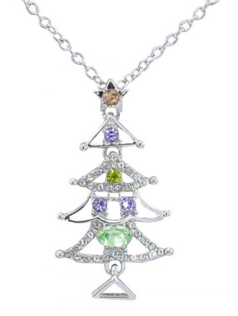 Shiny Rhinestone Inlaid Christmas Tree Necklace - SILVER