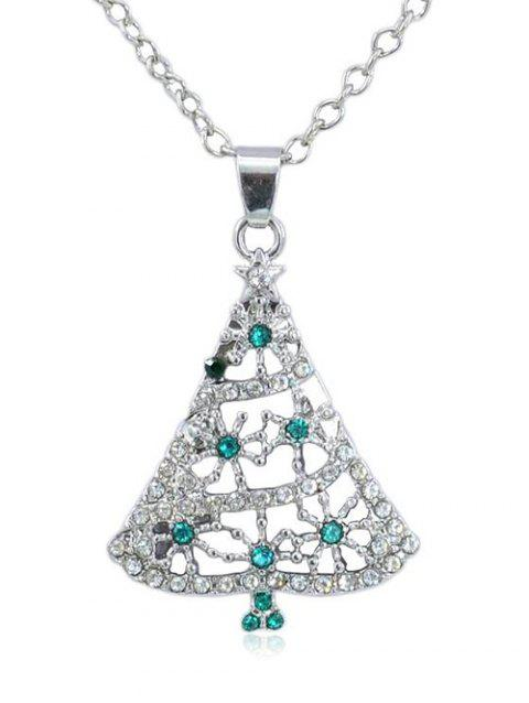 Rhinestone Christmas Tree Pendant Chain Necklace - SILVER
