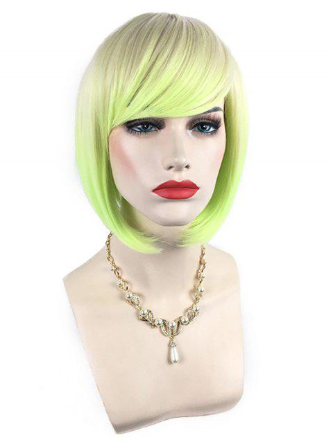 Short Side Bang Colorful Rainbow Straight Bob Party Synthetic Wig - multicolor B