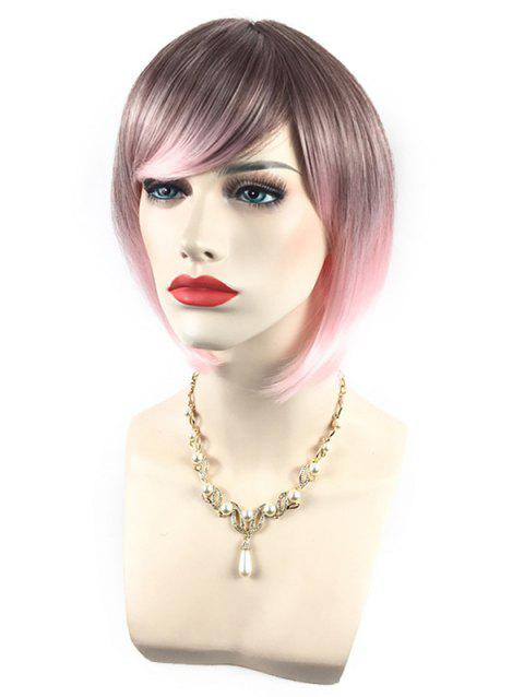 Short Side Bang Colorful Rainbow Straight Bob Party Synthetic Wig - multicolor C