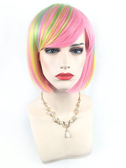 Short Side Bang Colorful Rainbow Straight Bob Party Synthetic Wig - multicolor E