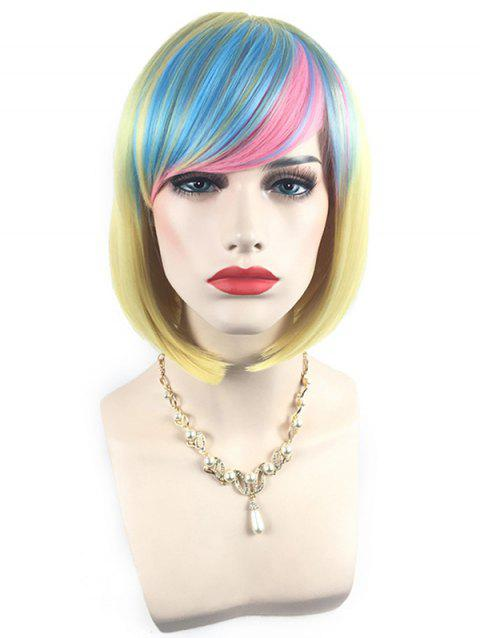 Short Side Bang Colorful Rainbow Straight Bob Party Synthetic Wig - multicolor H