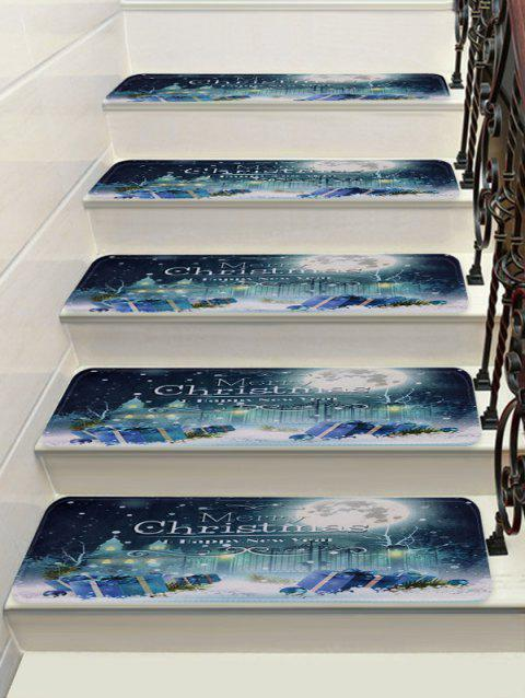 Moon Merry Christmas Decorative Stair Floor Rugs - multicolor 5PCS X 28 X 9 INCH