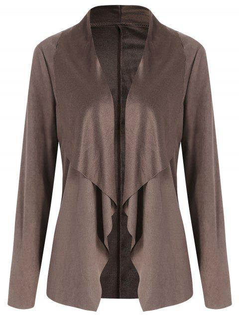 Open Front Draped Cardigan - COFFEE L