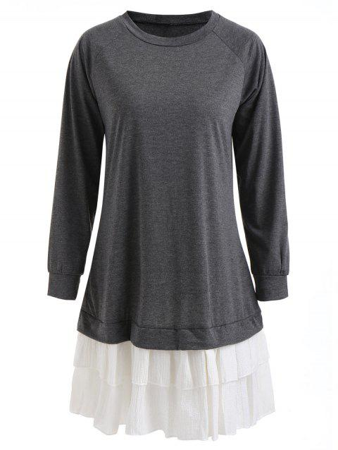 Raglan Sleeve Tunic Ruffled Dress - DARK GRAY M