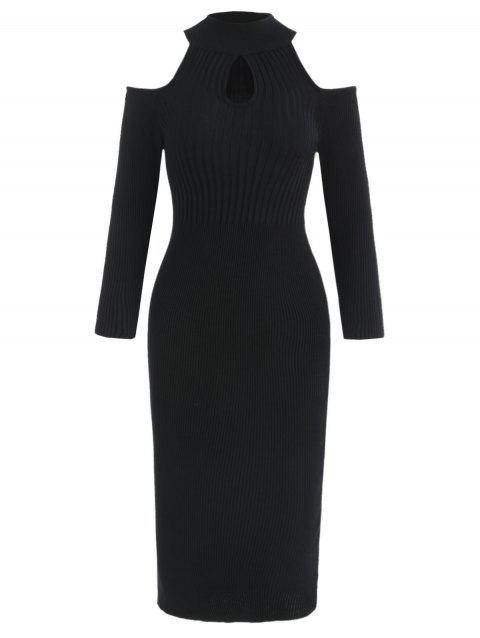 Open Shoulder Keyhole Neck Knit Dress - BLACK XL