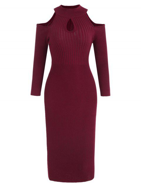 Open Shoulder Keyhole Neck Knit Dress - RED WINE L