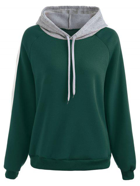Stripe Brim Hoodie with Fleece Lining - MEDIUM SEA GREEN XL