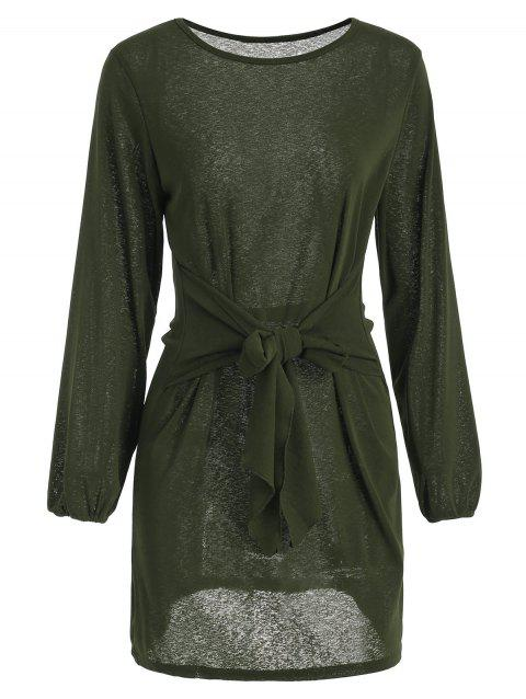 Long Sleeve Tie Waist Dress - DARK FOREST GREEN M