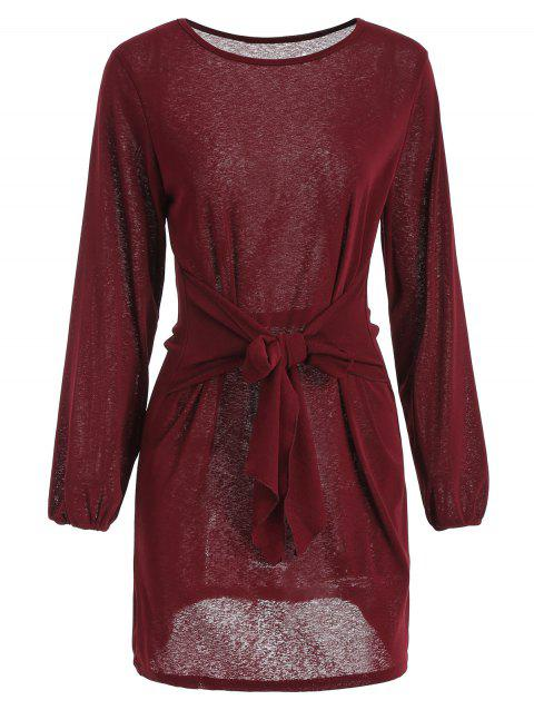 Long Sleeve Tie Waist Dress - RED WINE XL