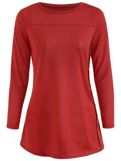 Long Sleeve Tunic T-shirt - RED 2XL