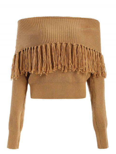 Off Shoulder Tassels Chunky Sweater - BROWN M