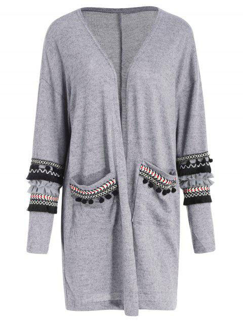 Embroidery Pockets Open Front Cardigan - GRAY L