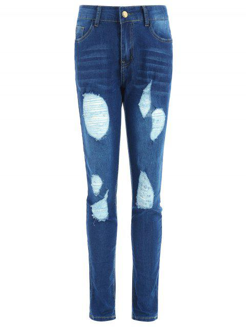 Slim Fit Ripped Jeans with Pockets - JEANS BLUE M