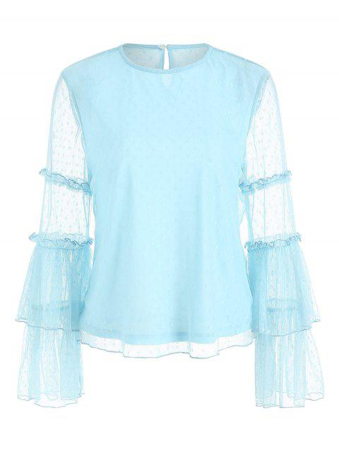 Flare Sleeve Mesh Overlay Blouse - LIGHT BLUE XL