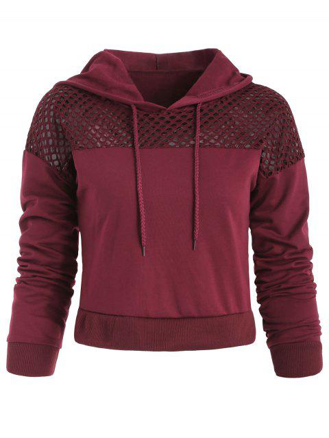 Sweat à Capuche Court Panneau en Crochet - Rouge Vineux L