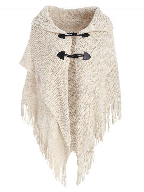 Dolman Sleeve Horn Button Cardigan - WARM WHITE ONE SIZE