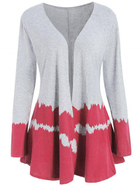 Hit Color Long Sleeve Collarless Cardigan - RED 2XL
