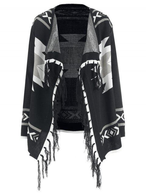 Aztec Pattern Tassel Shiny Knit Cardigan - BLACK L