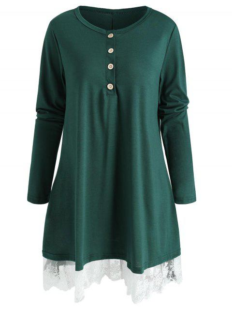 Long Sleeve Lace Hem T-shirt - GREEN M