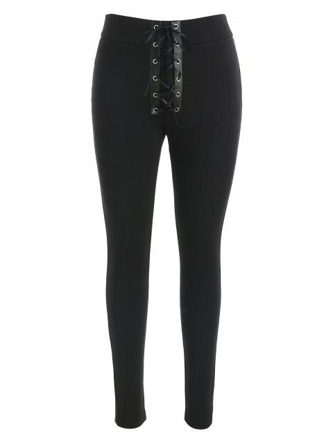 Lace Up Front Skinny Pants - BLACK M