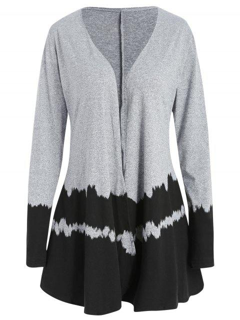 Hit Color Long Sleeve Collarless Cardigan - BLACK M