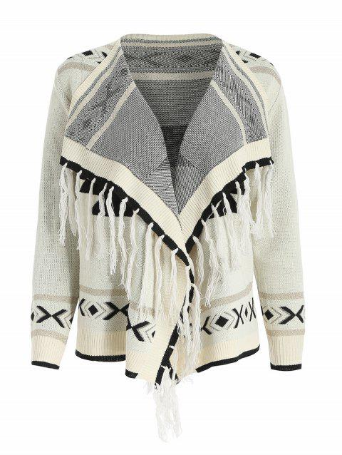 Aztec Pattern Tassel Shiny Knit Cardigan - WARM WHITE M