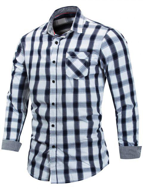 Checked Print Button Up Casual Shirt - DARK SLATE BLUE 3XL