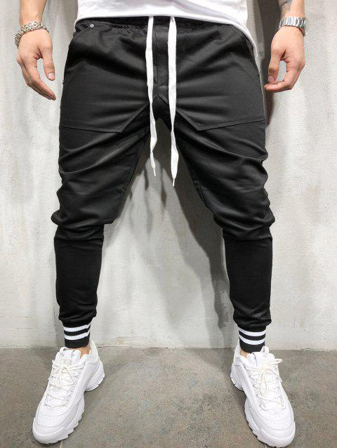 Stretchy Leg Opening Jogger Pants - BLACK XS