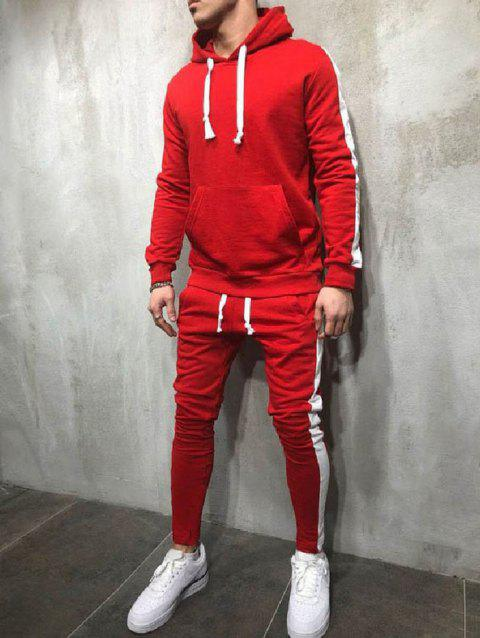 Side Stripe Drawstring Sport Suit - LAVA RED XL
