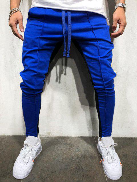 Color Block Drawstring Elastic Waist Jogger Pants - OCEAN BLUE 3XL