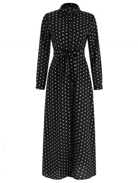 Polka Dot Belted Long Shirt Dress - BLACK L