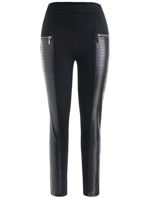 Faux Leather Panel Skinny Pants - BLACK XL