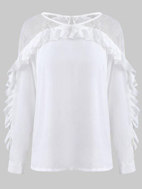 Sheer Lace Insert Flounce Blouse - WHITE XL