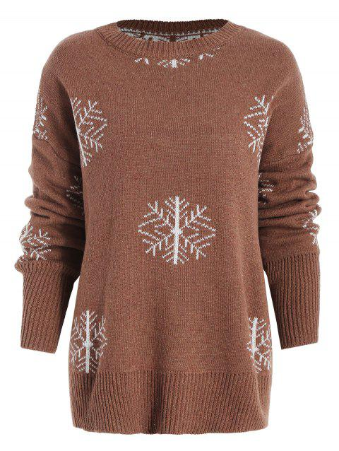 Crew Neck Snowflake Christmas Jumper - BROWN M