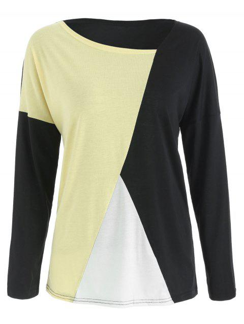 Dolman Sleeve Contrast Color T-shirt - multicolor L
