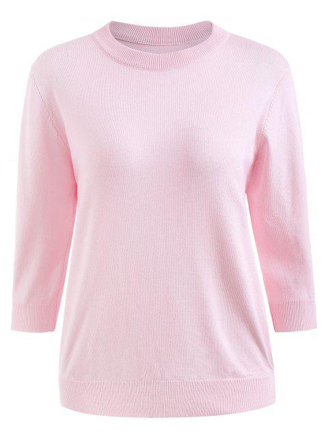 Round Neck Plus Size Drop Shoulder Sweater - PIG PINK 3X