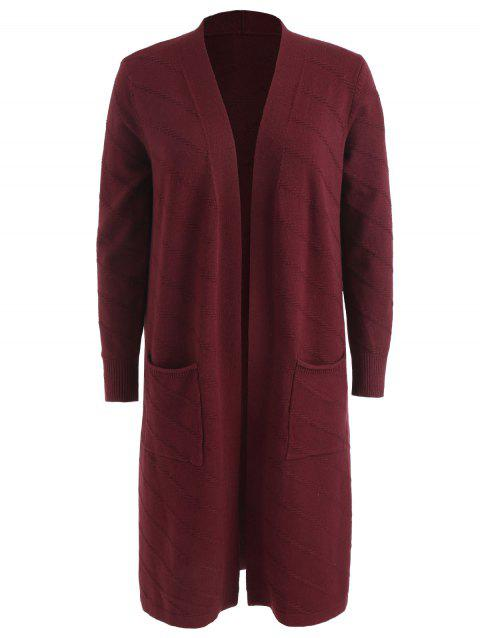 Plus Size Front Pockets Cardigan - RED WINE 4X